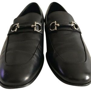 Salvatore Ferragamo Black Leather Double Horsebit